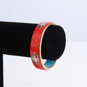 Antique Cinnabar Enamel Bangle Bracelet